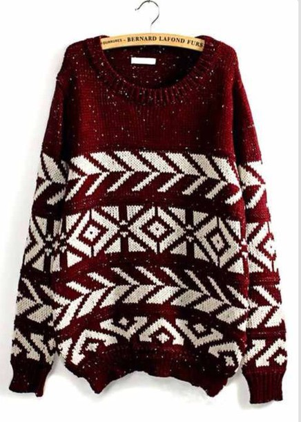 Sweater Burgundy Sweater White Warm Sweater Cute