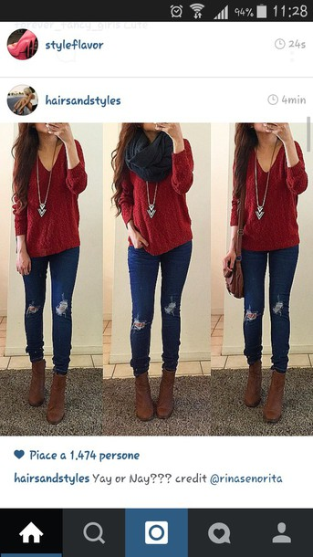 sweater red sweater jeans ripped jeans style scarf necklace