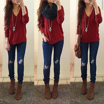 scarf sweater jeans ripped jeans necklace style red sweater scarf red