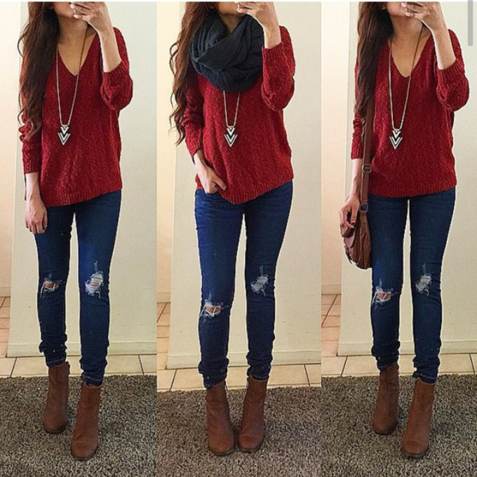 scarf sweater jeans style necklace ripped jeans red sweater scarf red