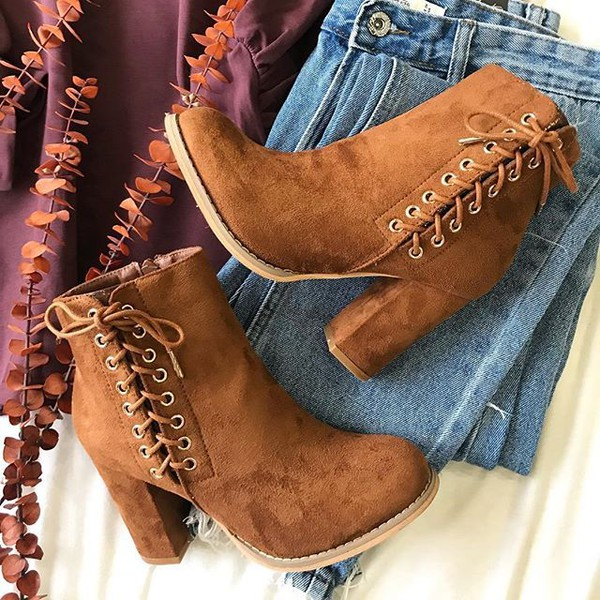shoes boots fall outfits bootie suede camel cute trendy love lace up tie tie boots side boots suede boots fall boots fall bootie inexpensive bellexo