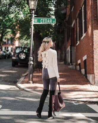 sweater white sweater tumblr open back backless sweater denim jeans grey jeans boots black boots bag bow