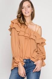 blouse,apricot,blush,ruffle,one shoulder