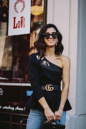 top sunglasses gucci belt gucci black top one shoulder embellished belt