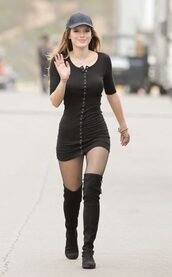 dress,mini dress,bodycon dress,bella thorne,over the knee boots,tights,cap,spring dress,spring outfits,all black everything