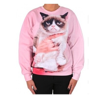 sweater pink fashion style cute funny fall outfits winter outfits cool swag grumpy cat long sleeves cats warm
