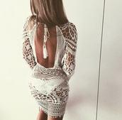 dress,beach,rat and boa,ibiza,marbella,lace dress,crochet,lace,cover up,kaftan,mesh,crochet dress,cream,tassel,low back,backless,cute dress,white dress,white lace dress
