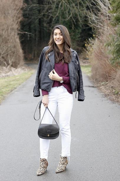 seekingsunshine blogger shirt jacket jeans shoes bag shoulder bag white pants black leather jacket ankle boots