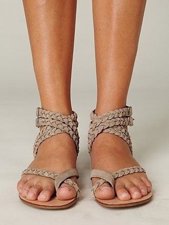 shoes braid braided brown leather sandals buckles tan flats