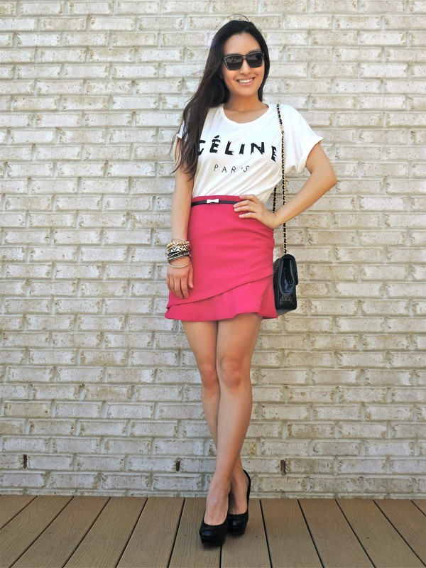 sensible stylista sunglasses top skirt belt shoes jewels bag
