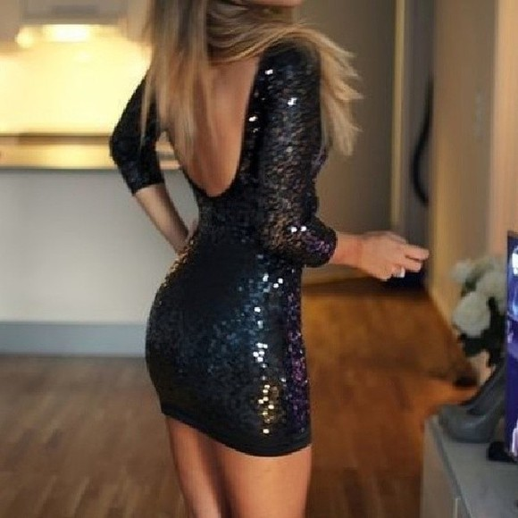 dress glitter dress black little black dress black glitter short party dresses