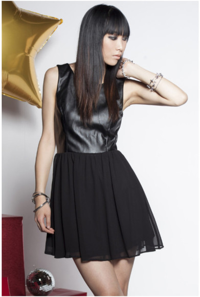 dress black mini dress little black dress leather chiffon short dress leather chiffon dress