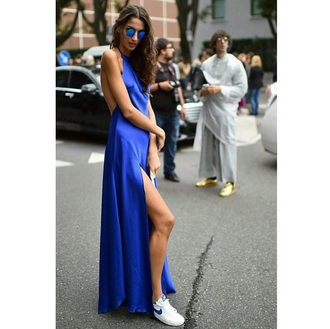 dress bright blue dress blue dress bright blue colorful dress bright dress long dress blue sunglasses street streetwear streetstyle streetlook trendy stylish style on point clothing