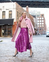 top,sequin top,sequin skirt,pink coat,maxi dress,long sleeves