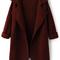 Wine red lapel long sleeve loose knit coat -shein(sheinside)