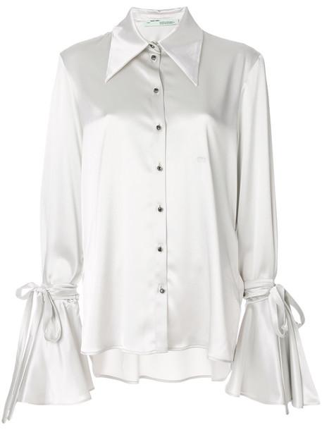 shirt bow women grey top