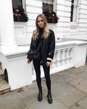 jacket,leather jacket,black jacket,black boots,ankle boots,black jeans,skinny jeans,crossbody bag,louis vuitton bag,black top,turtleneck