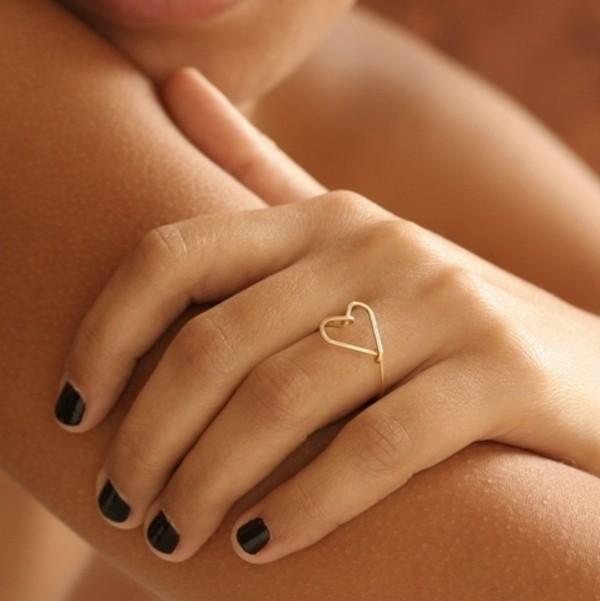 Mini Sideways Heart Ring 14kt Gold Fill by DoubleHeartsTreasure