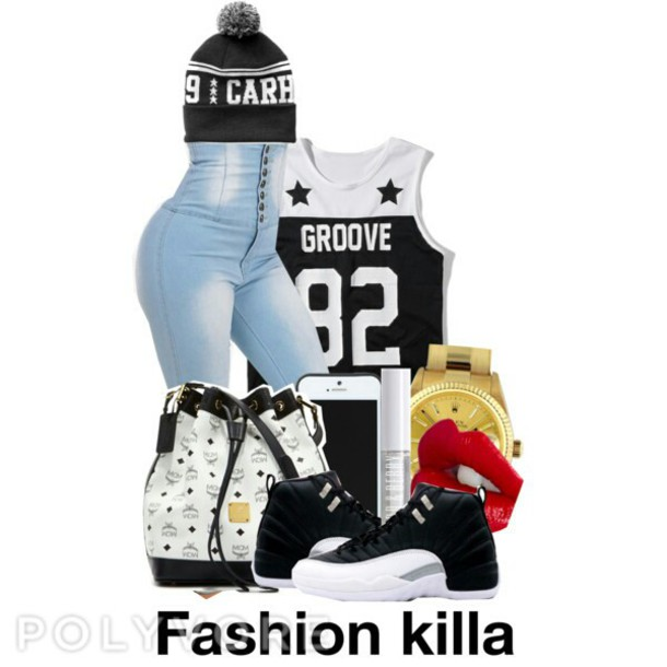 t-shirt grooves high waisted jeans bag