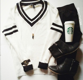 sweater black and white white sweater vintage cute sweater preppy