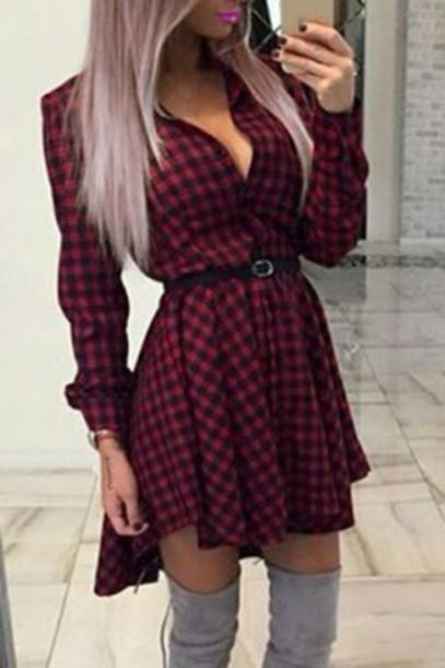 Dress Plaid Fashion Red Black Long Sleeves Sweet