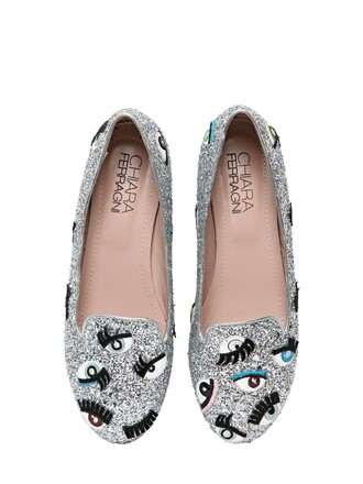 glitter eyes loafers silver shoes