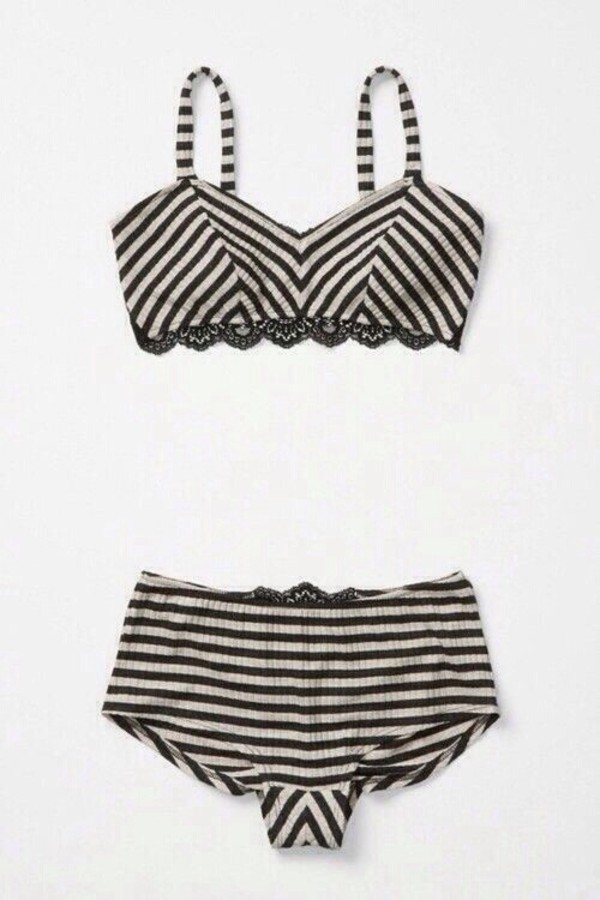 underwear white stripes retro lingerie lace bikini cute black