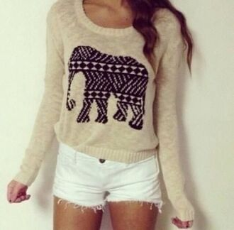 sweater elephant cute black cozy tumblr trendy oversized white shorts shorts white tribal elephant sepia aztec beige long sleeves