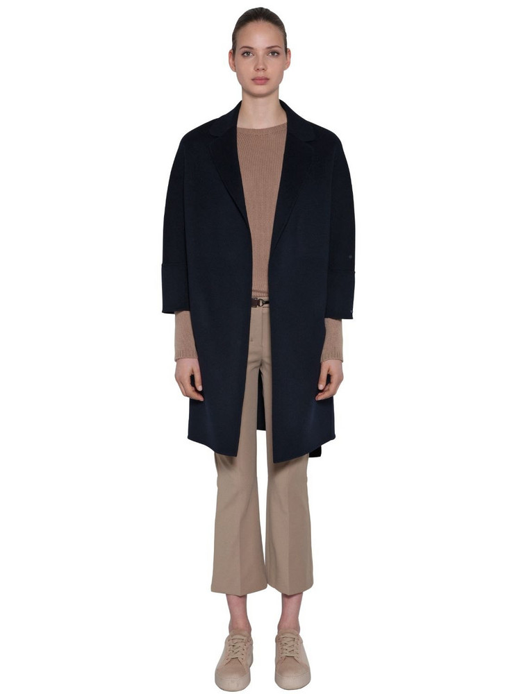 MAX MARA 'S Double Wool Wrap Coat in blue