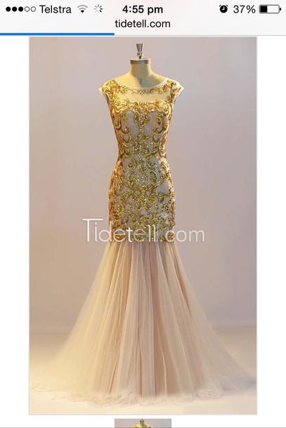 dress gold long white