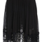 Black elastic waist pleated lace skirt -shein(sheinside)