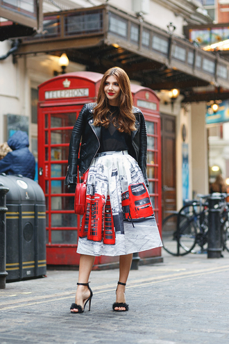 the mysterious girl blogger skirt bag jacket shoes jewels furry shoes sandals sandal heels high heel sandals midi skirt printed skirt see through top see through black leather jacket leather jacket black jacket