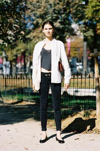 vanessa jackman blogger jeans grey top streetstyle white shirt