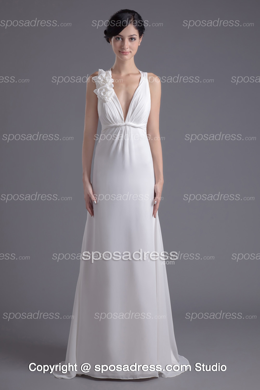 2013 Simple Style Deep V-neck White A-line Prom Dress - Sposadress.com
