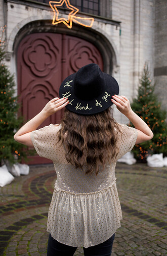 blouse gold top top white top tumblr polka dots long hair brunette felt hat hat black hat customized hat embroidered hat