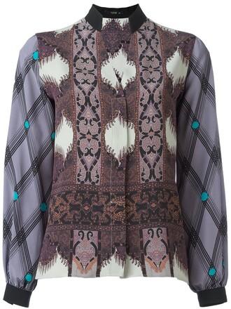 blouse printed blouse women silk purple pink top