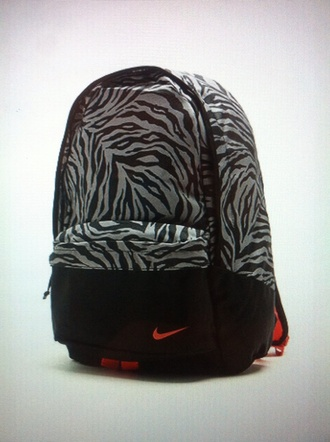 bag nike backpack pink black grey zebra