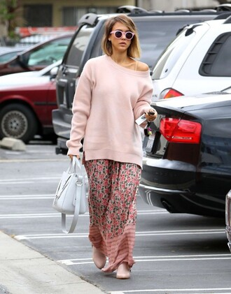 sweater jessica alba oversized oversized sweater maxi skirt skirt