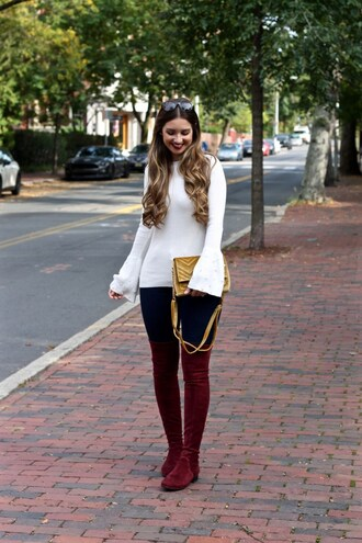 lamariposa blogger sweater pants shoes bag fall outfits over the knee boots bell sleeve sweater