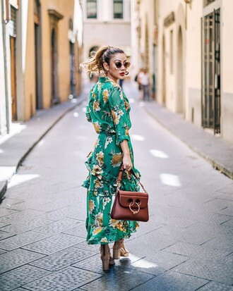 dress floral dress tumblr maxi dress long dress bag jw anderson bag floral sandals sandal heels high heel sandals shoes