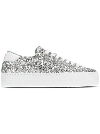 women sneakers leather grey metallic shoes