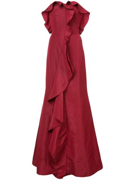 oscar de la renta gown ruffle women silk red dress