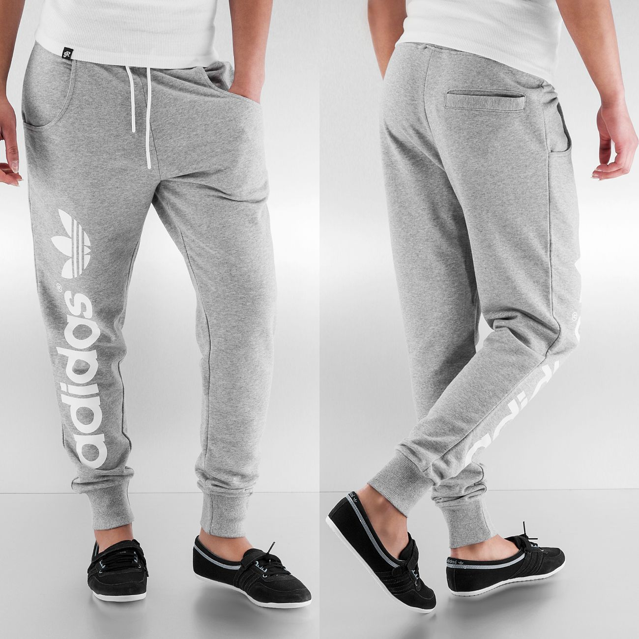 Adidas Pantalon / Jogging Baggy Track Pants en gris
