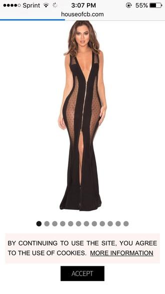 dress black dress see through dress zipper dress
