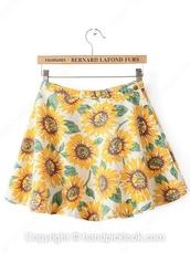 skirt,skater skirt,sunflower,sunflower skirt,dress,blackfive,bottoms,shorts,clothes,fashion,autumn/winter,outfit,girly,top
