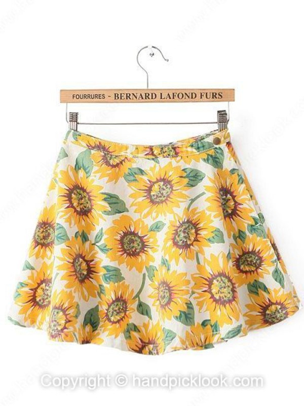 skirt skater skirt sunflower sunflower skirt dress blackfive bottoms shorts clothes fashion autumn/winter outfit girly top
