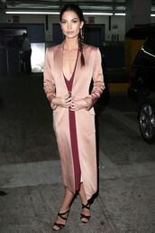 coat,lily aldridge,silk,dress,sandals,shoes