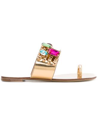women embellished sandals flat sandals leather grey metallic shoes