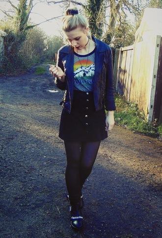 the velvet black grunge blogger jacket grey t-shirt black skirt