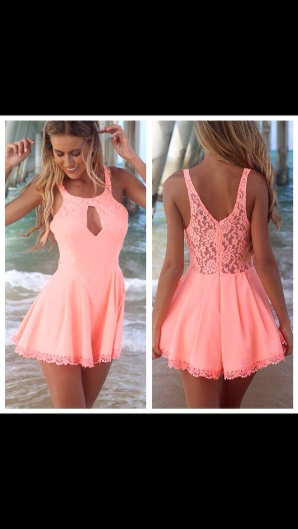 dress coral playsuit